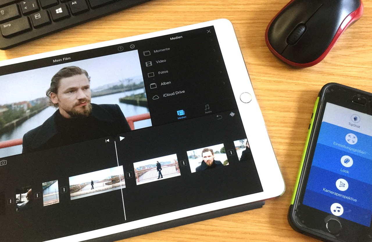 Tablet mit der App iMovie